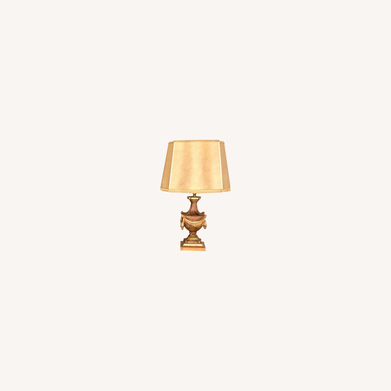 Pair of Traditional Gilt Lamps With Silk Shades - image-0