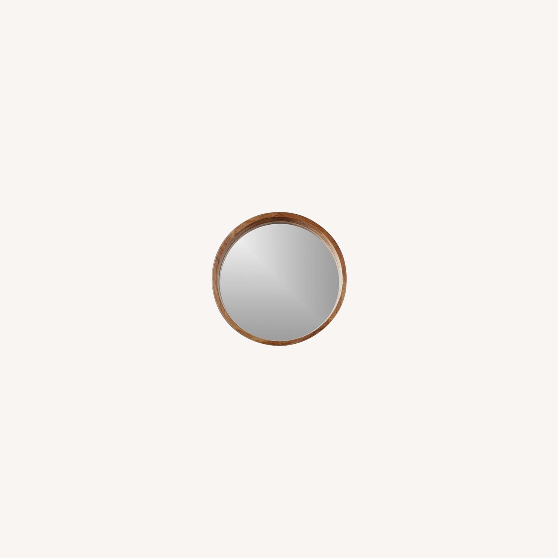 CB2 Acacia Round Wooden Mirror - image-0