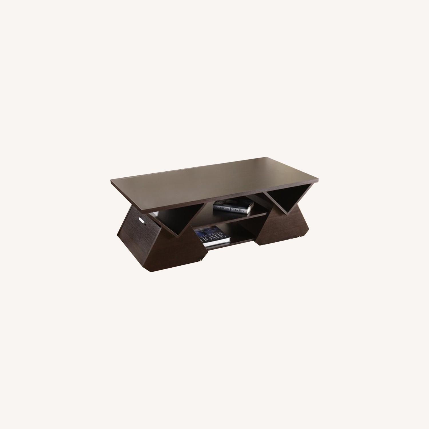 Wayfair Dark Brown Coffee Table with Storage - image-0