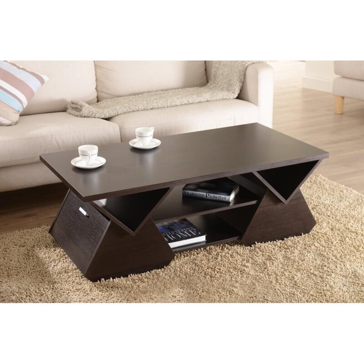 Wayfair Dark Brown Coffee Table with Storage - image-1