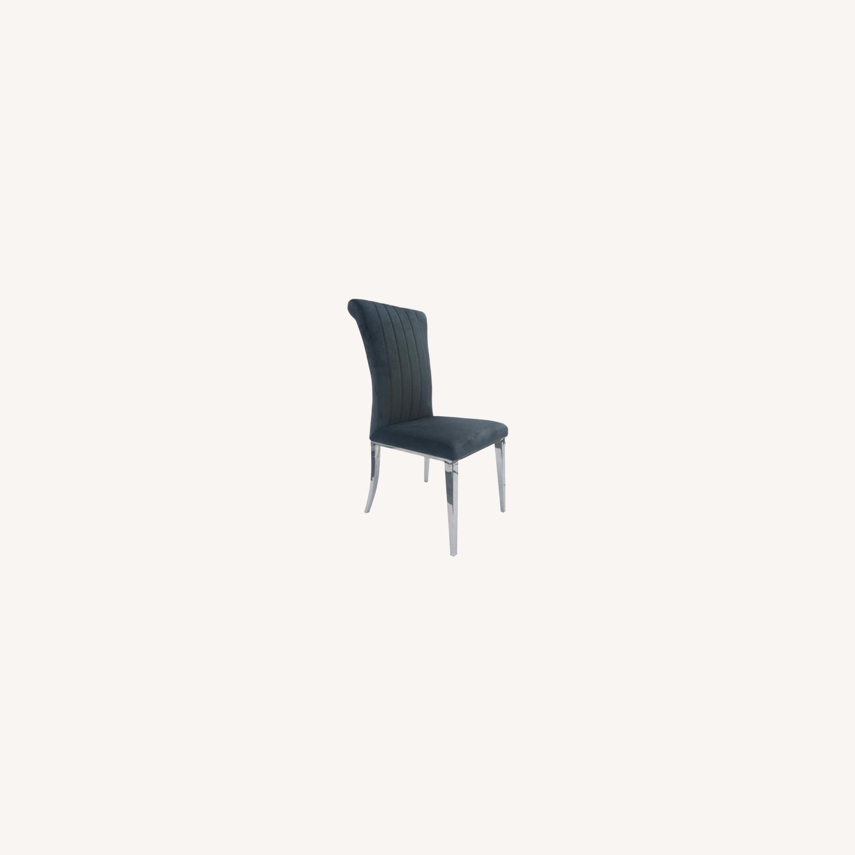 Dining Chair In Dark Grey Velvet Upholstery - image-3