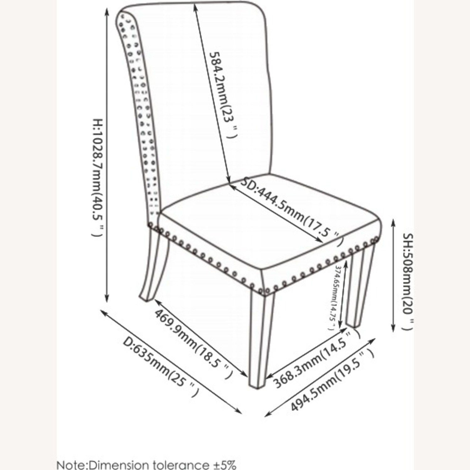 Dining Chair In Grey Linen Upholstery - image-4