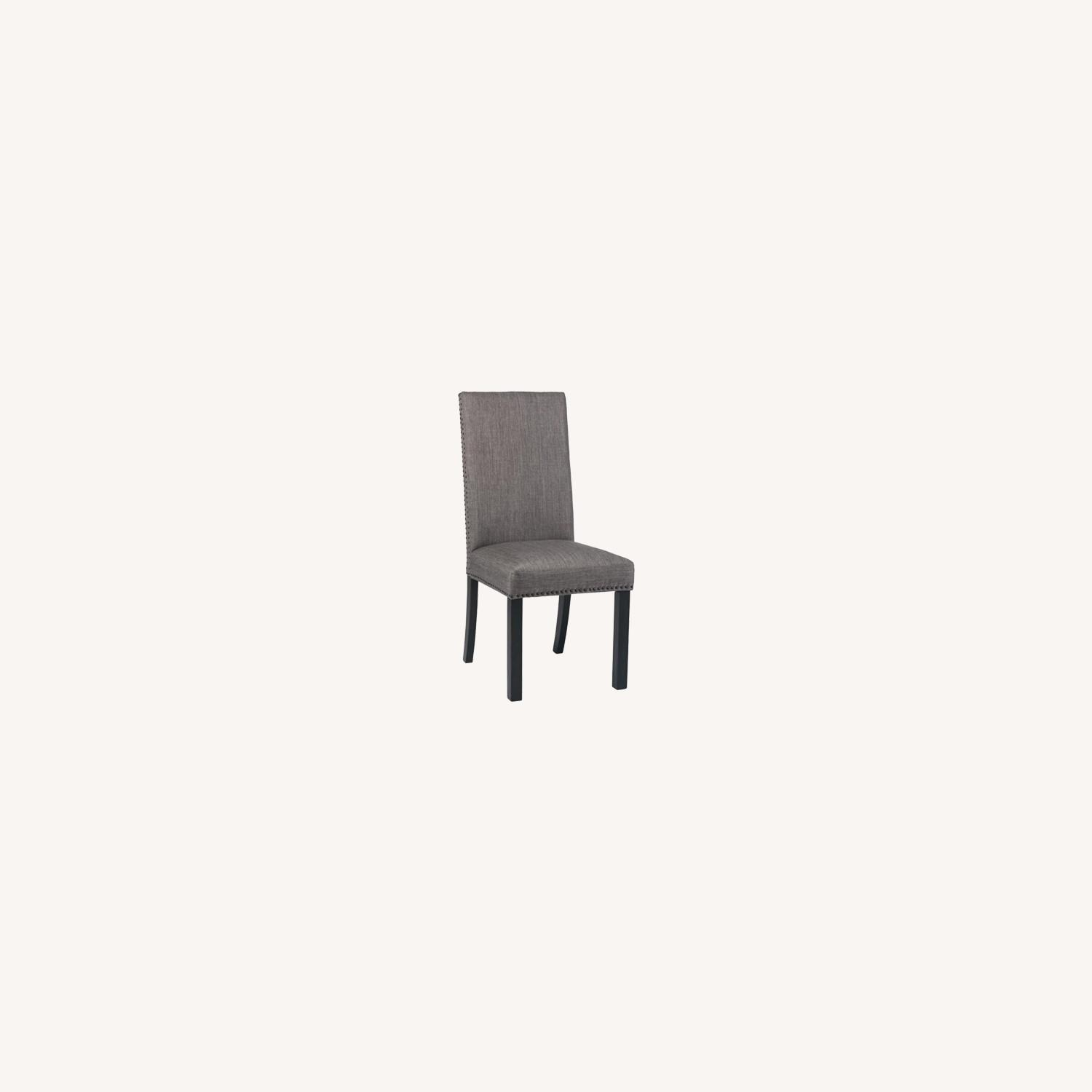 Dining Chair In Grey Linen Upholstery - image-3