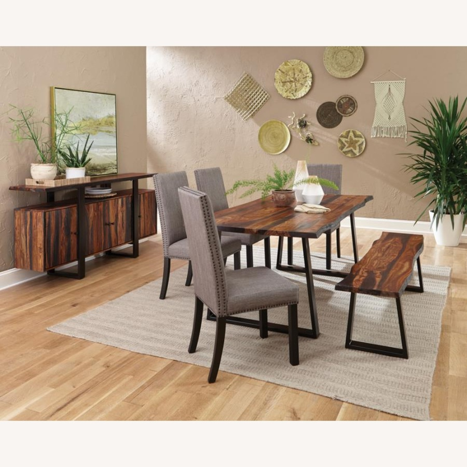 Dining Chair In Grey Linen Upholstery - image-2