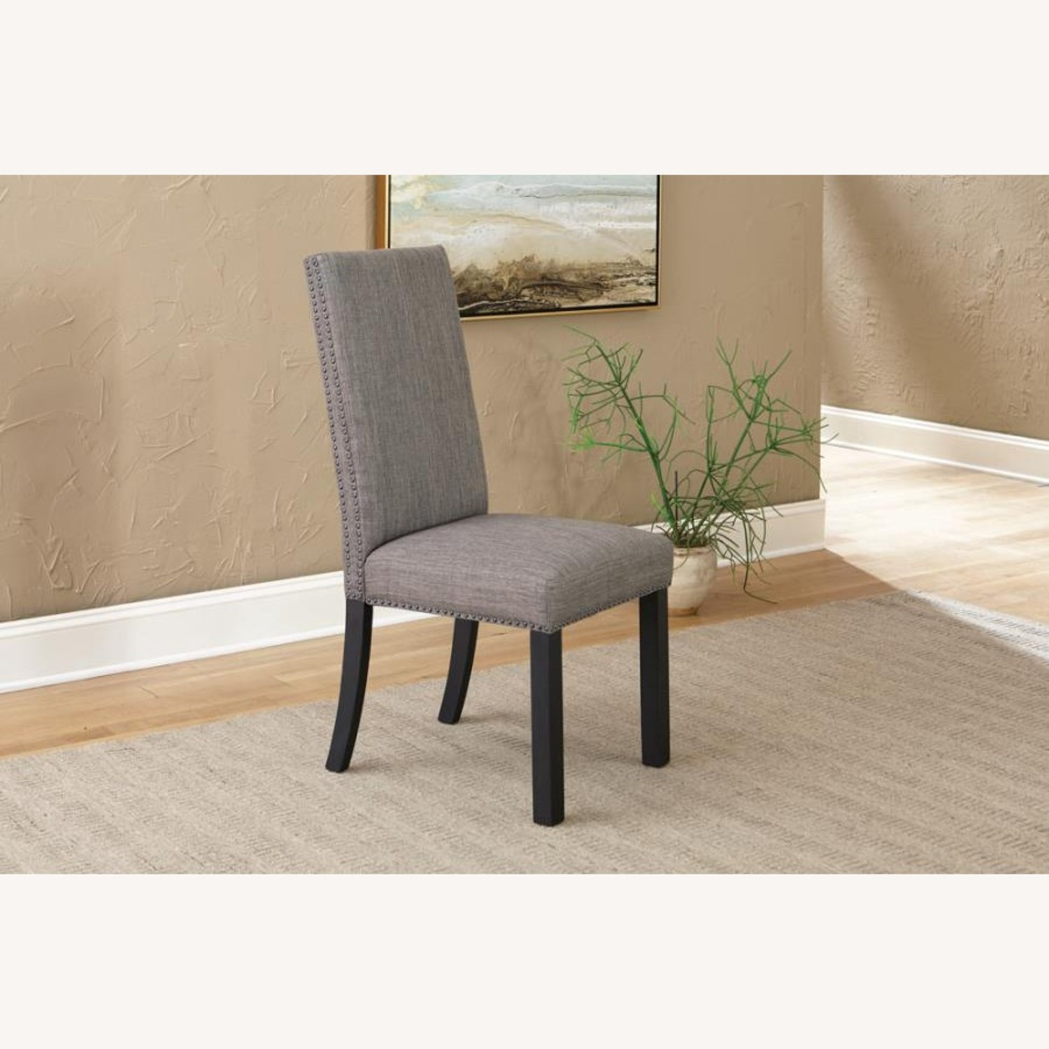 Dining Chair In Grey Linen Upholstery - image-1
