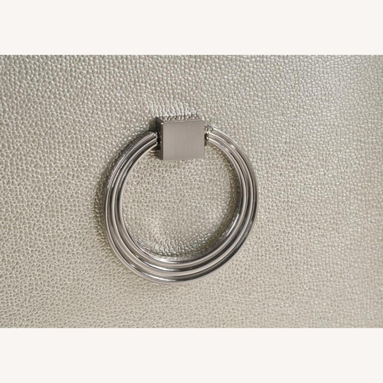 Nightstand In Metallic Sterling W/ Ring Handles - image-3