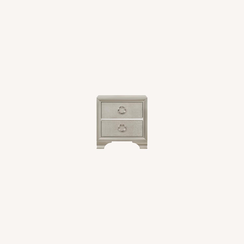 Nightstand In Metallic Sterling W/ Ring Handles - image-9