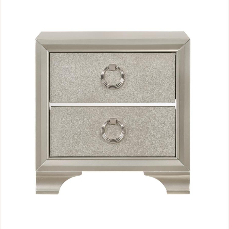 Nightstand In Metallic Sterling W/ Ring Handles - image-1