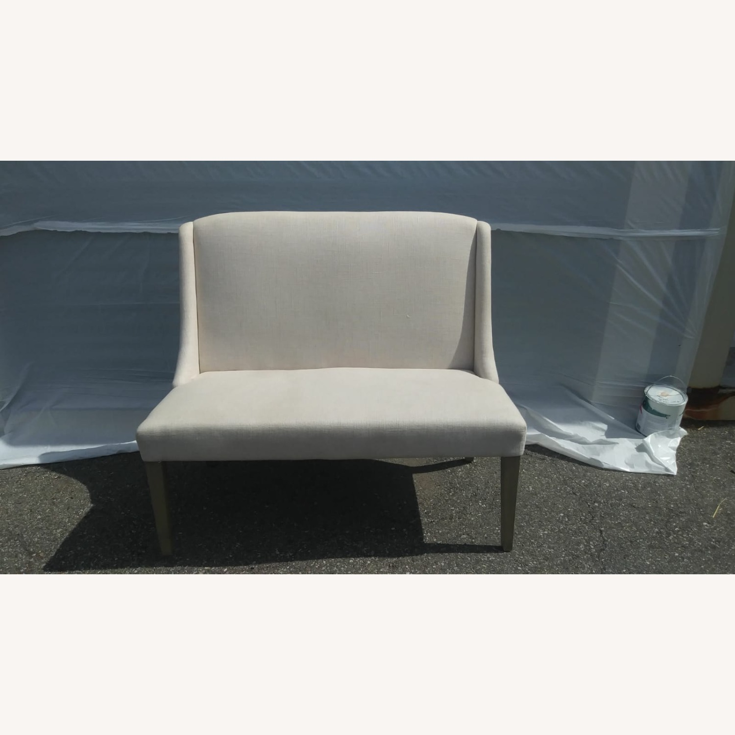 ABC Carpet and Home White Settee Couch - image-1