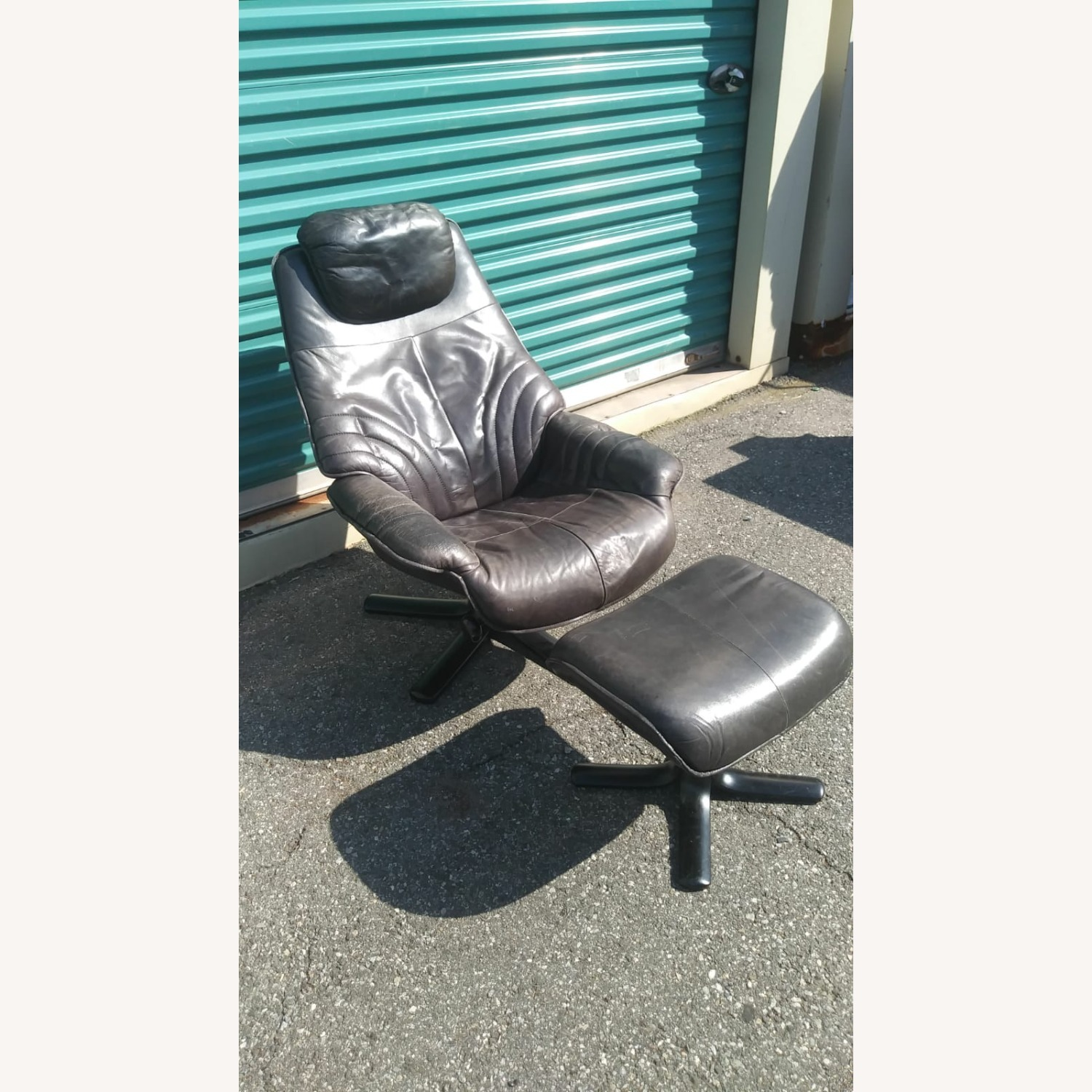 Black Leather Recliner with Ottoman - image-2