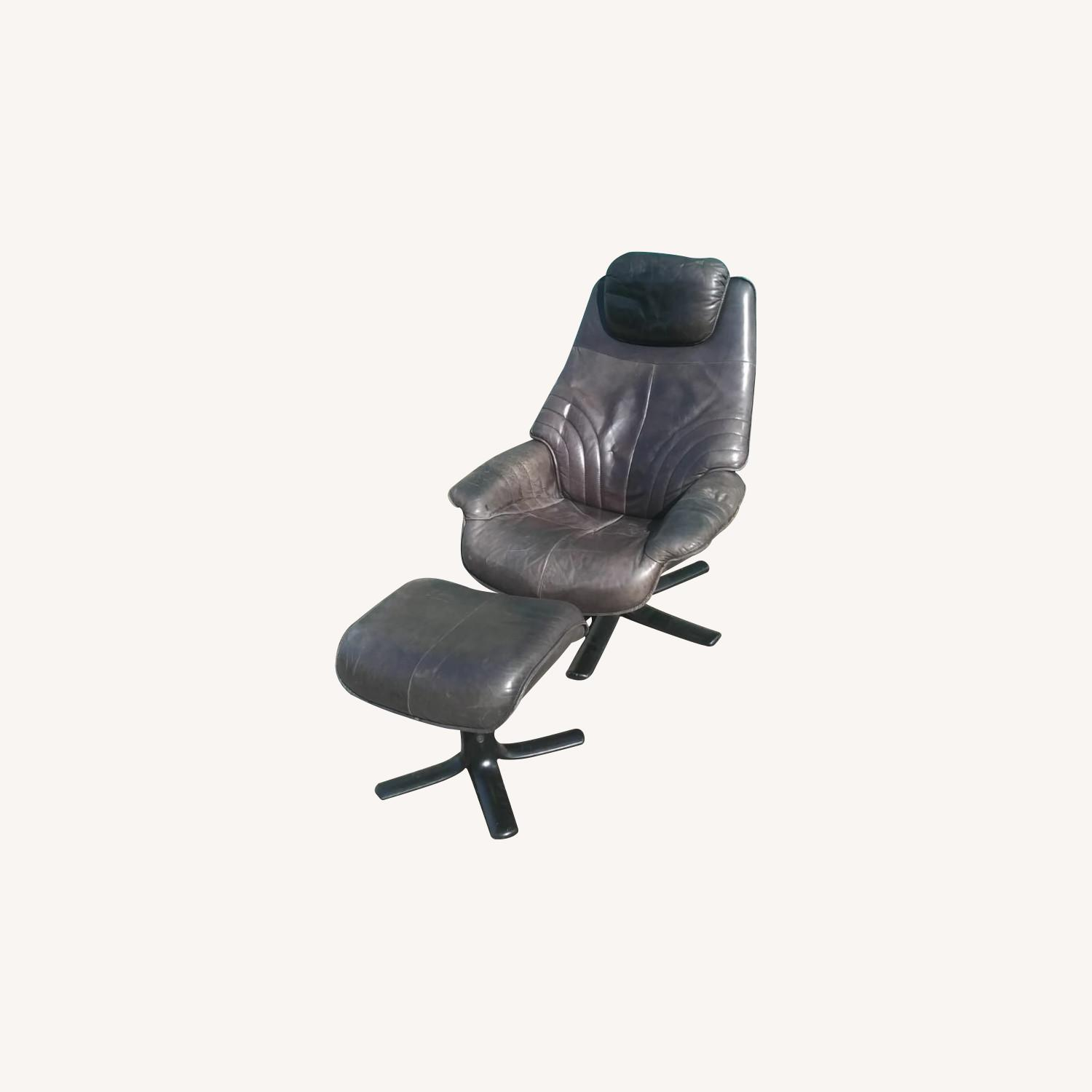Black Leather Recliner with Ottoman - image-0