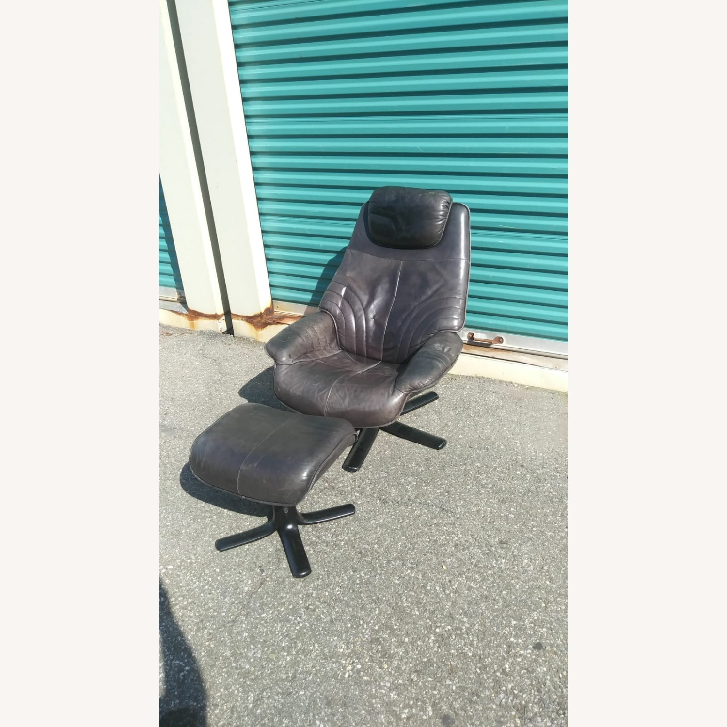 Black Leather Recliner with Ottoman - image-1