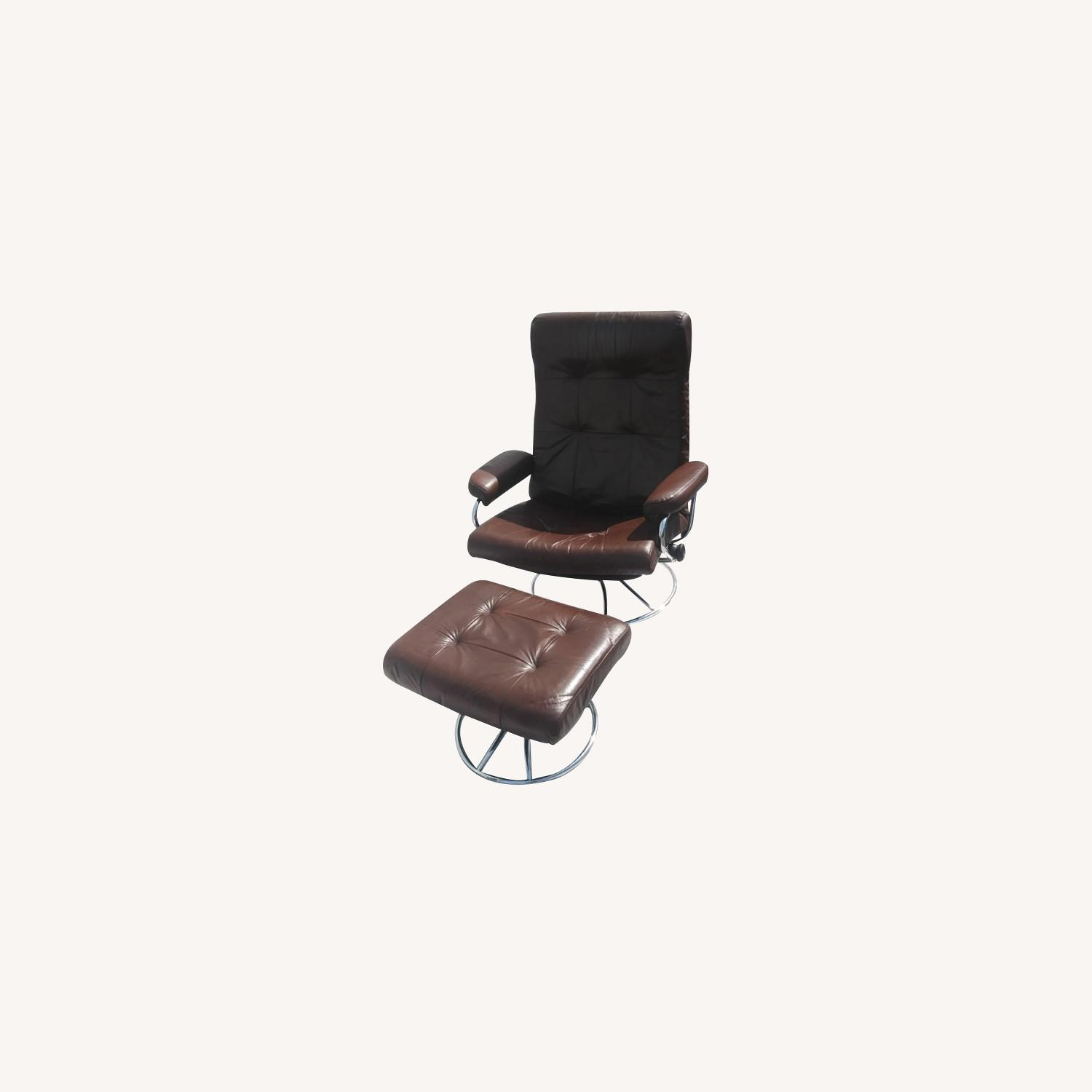 Brown Leather Armchair with Ottoman - image-0