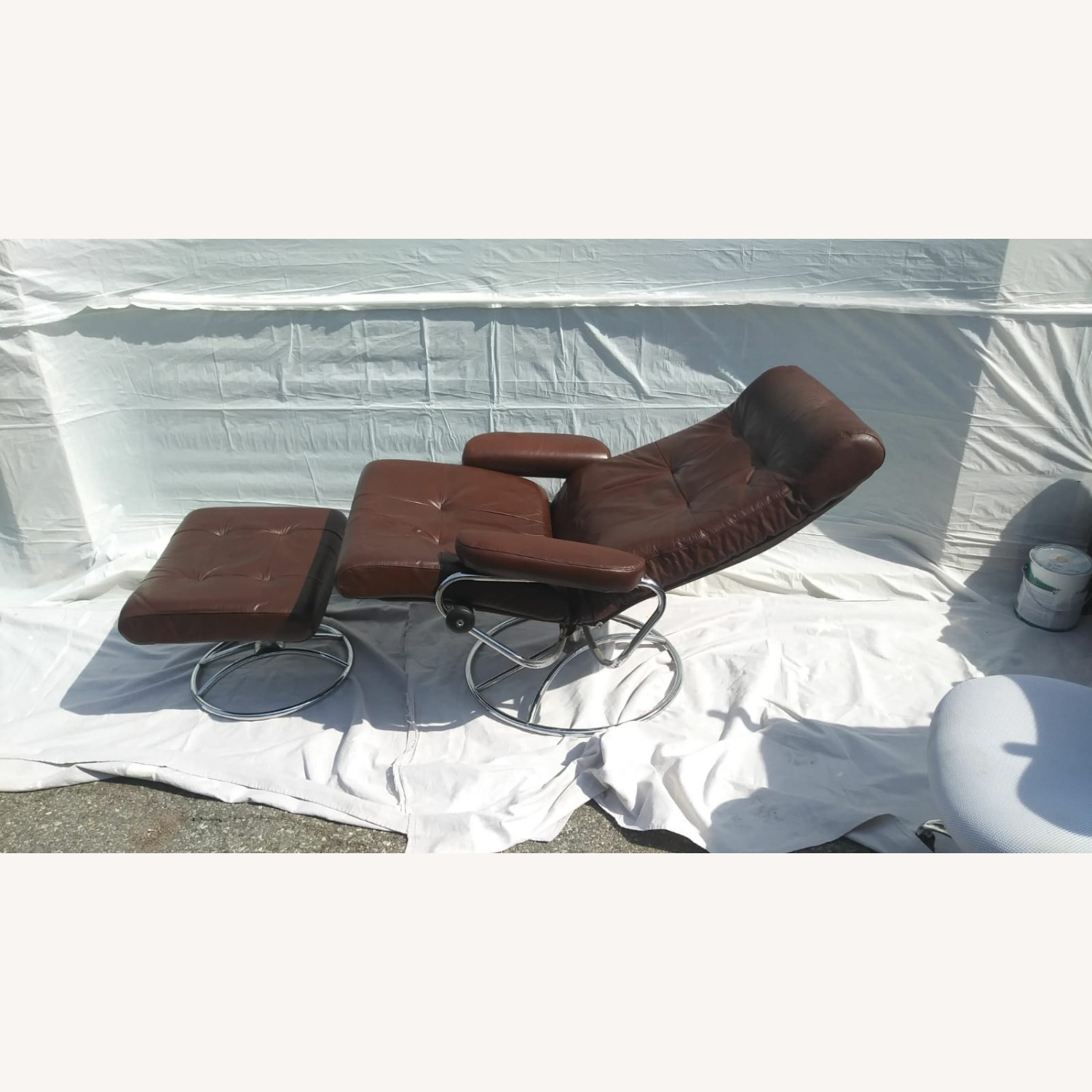 Brown Leather Armchair with Ottoman - image-2