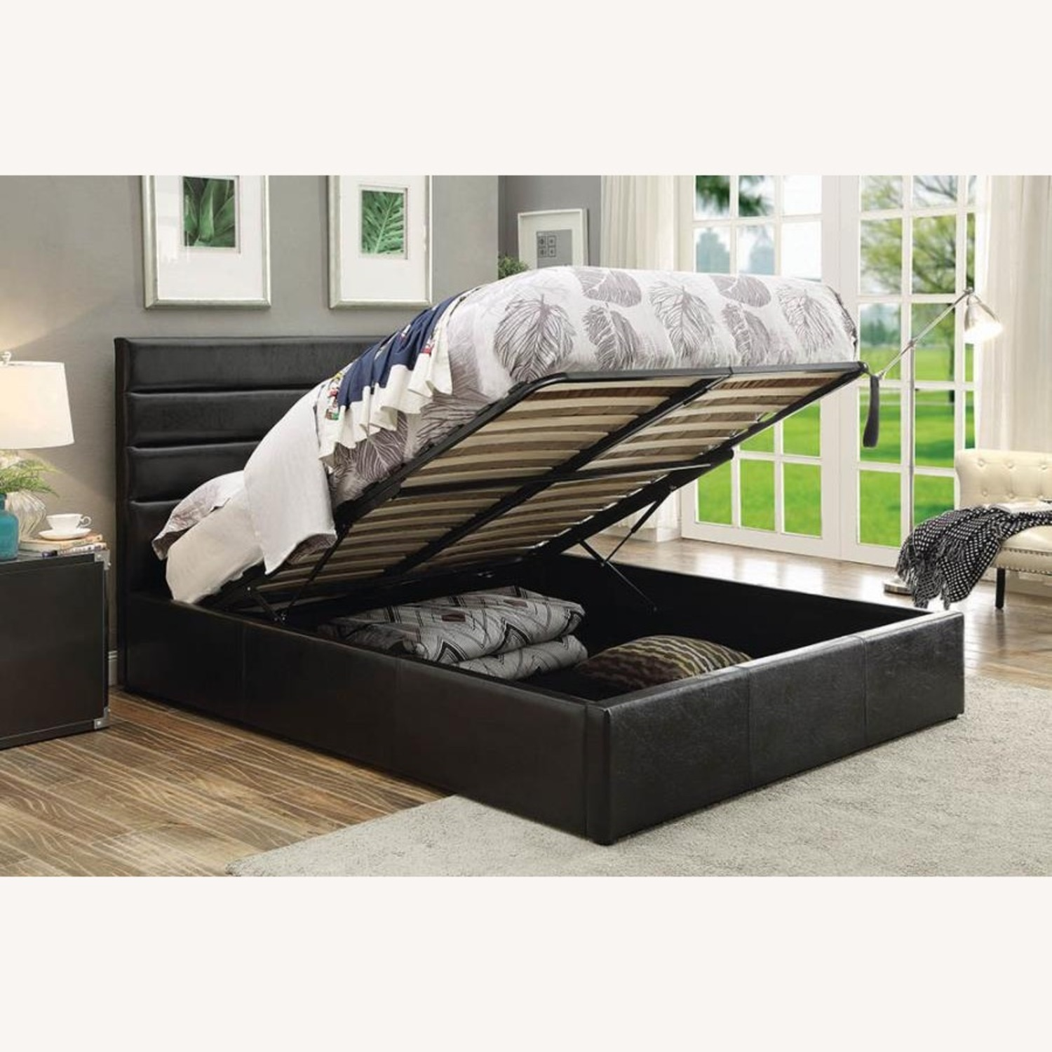 King Bed W/ Lift-Up Storage In Black Leatherette - image-2