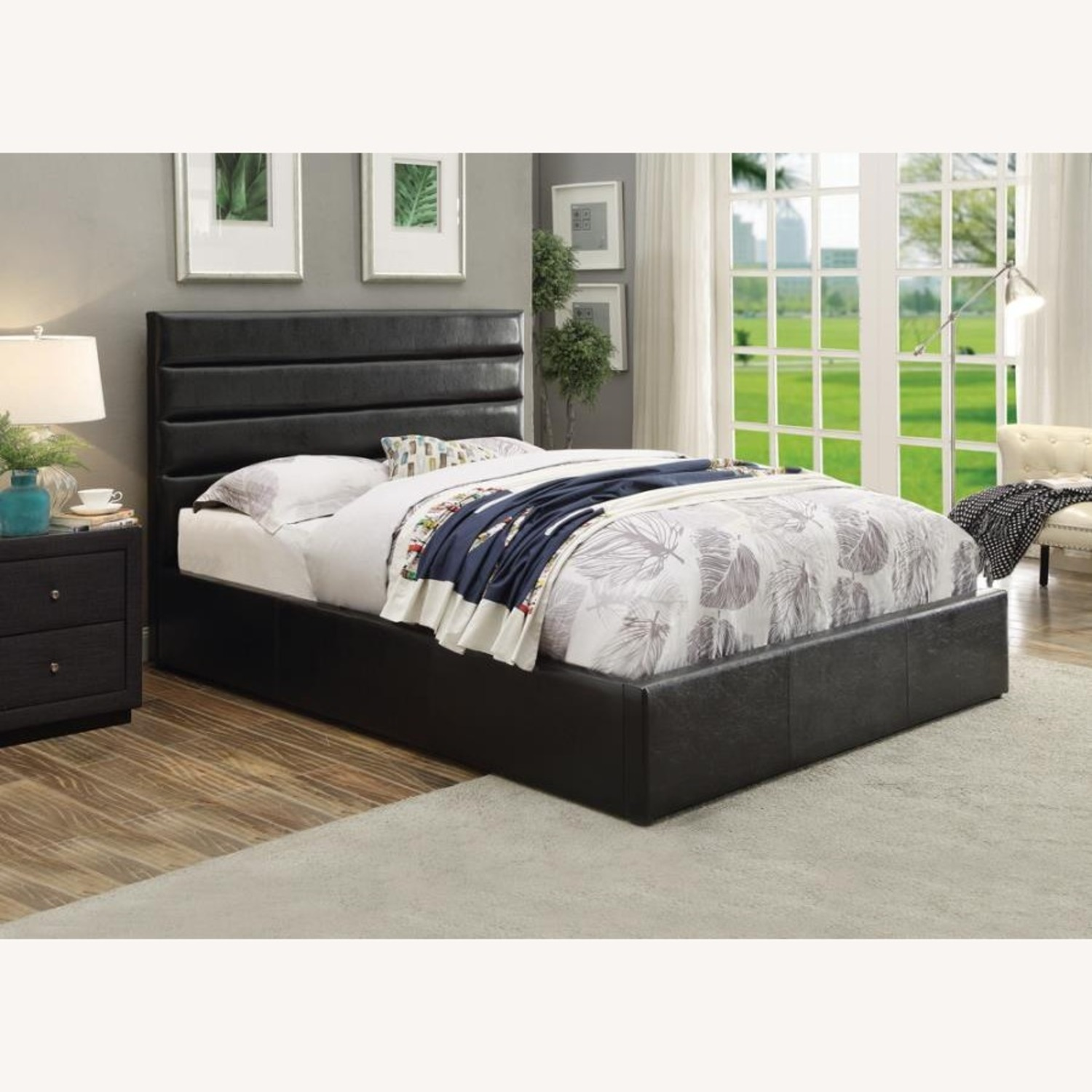 King Bed W/ Lift-Up Storage In Black Leatherette - image-1