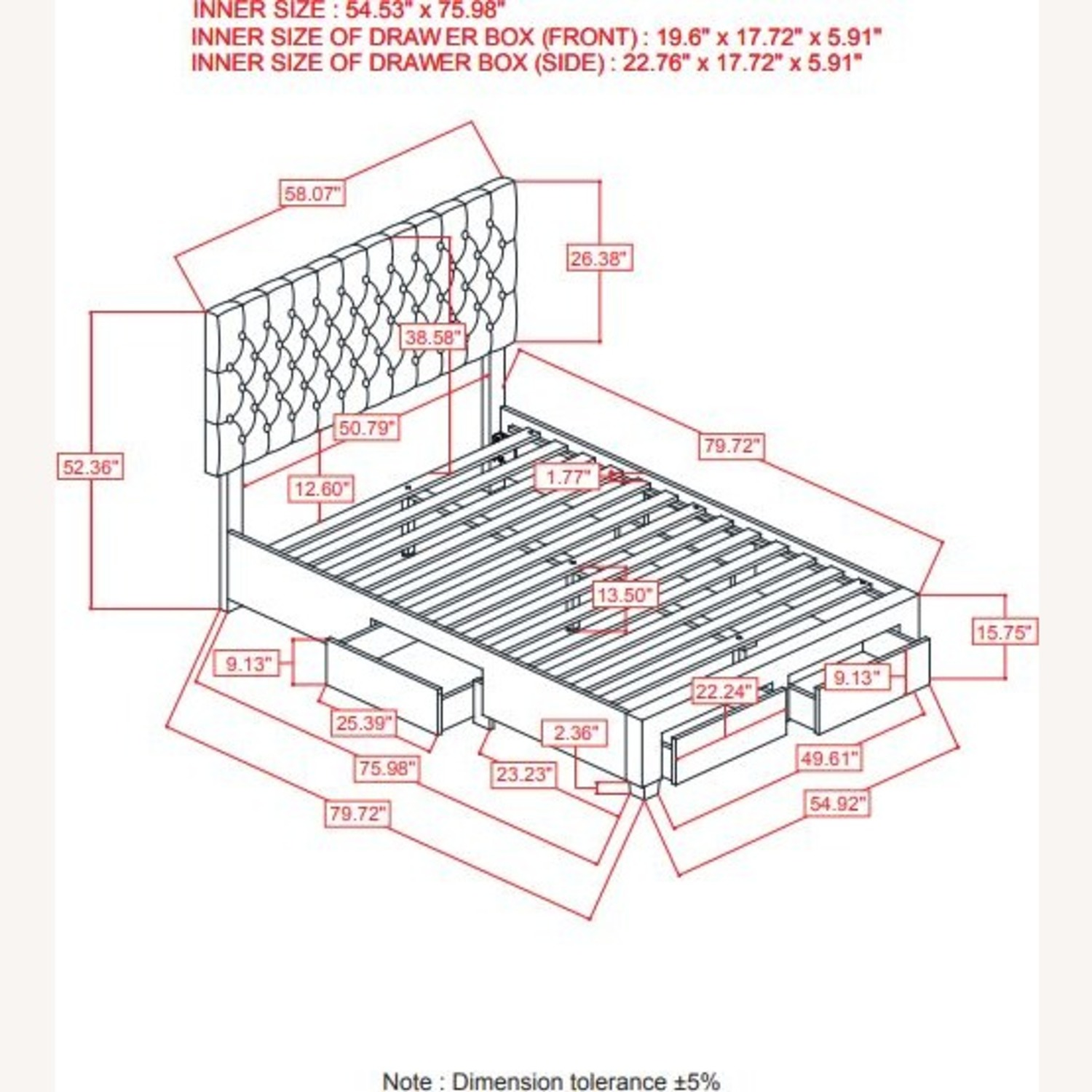 Full Bed W/ Storage In Light Grey Fabric - image-4
