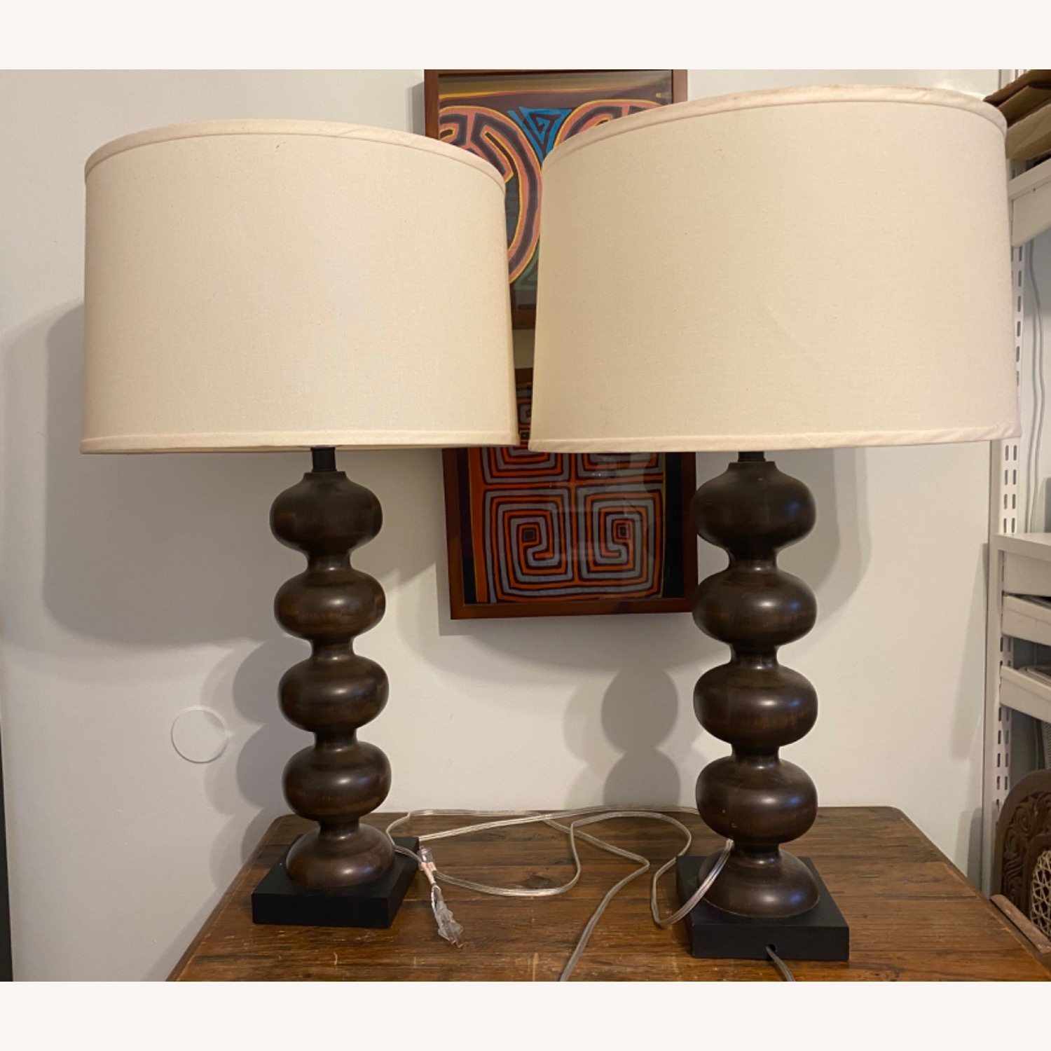 Pottery Barn Hand Turned 31 Tall Wooden Lamps (2) - image-0