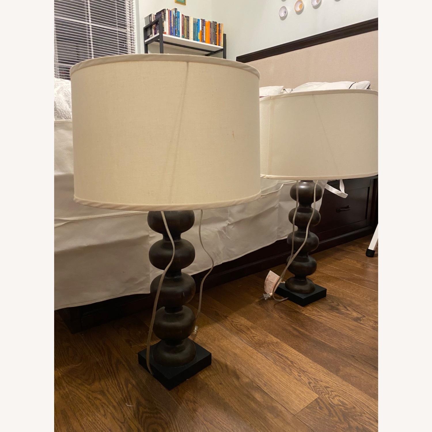 Pottery Barn Hand Turned 31 Tall Wooden Lamps (2) - image-1