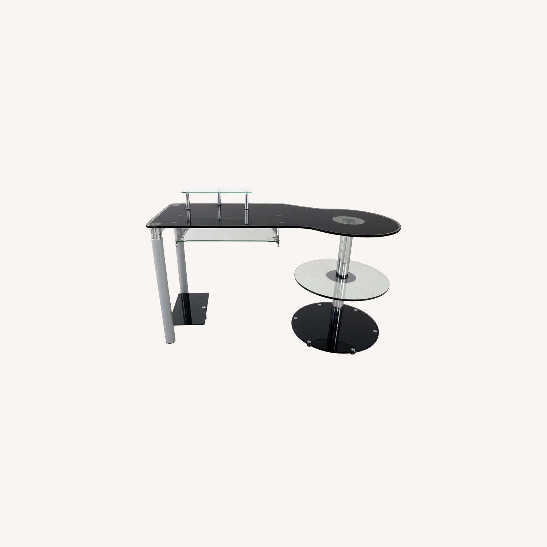 Modern Black/Clear Tempered Glass Computer Desk - image-0