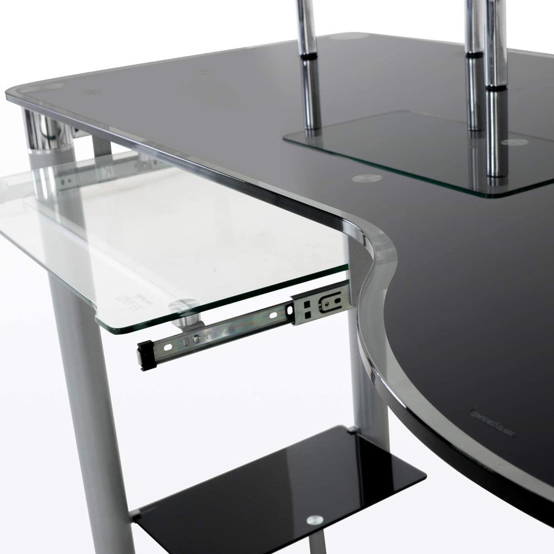 Modern Black/Clear Tempered Glass Computer Desk - image-4