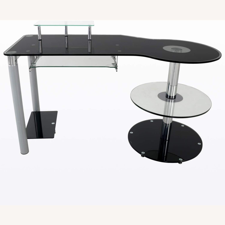 Modern Black/Clear Tempered Glass Computer Desk - image-1