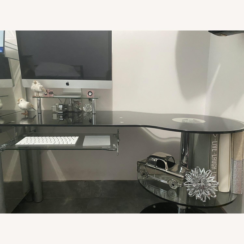 Modern Black/Clear Tempered Glass Computer Desk - image-8