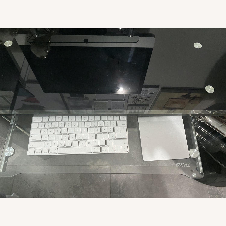 Modern Black/Clear Tempered Glass Computer Desk - image-9
