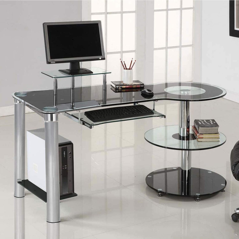 Modern Black/Clear Tempered Glass Computer Desk - image-3
