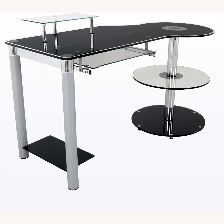 Modern Black/Clear Tempered Glass Computer Desk - image-2