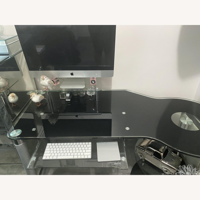 Modern Black/Clear Tempered Glass Computer Desk - image-5