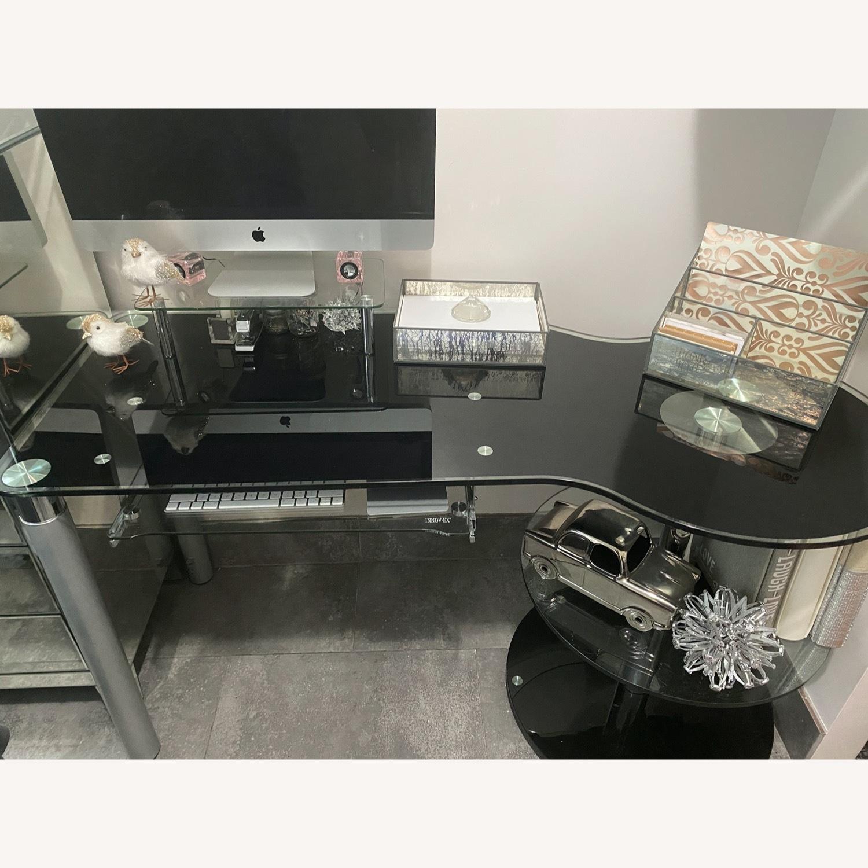 Modern Black/Clear Tempered Glass Computer Desk - image-11