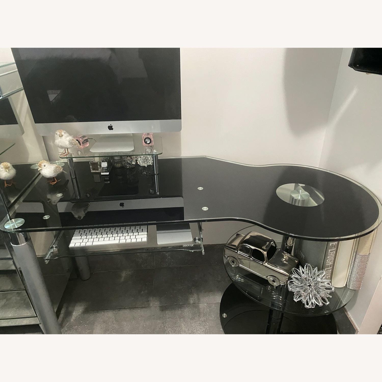 Modern Black/Clear Tempered Glass Computer Desk - image-10