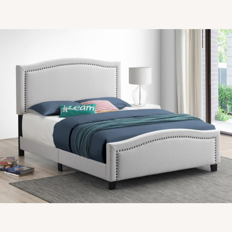 Queen Bed In Linen-Like Beige Fabric Upholstery - image-2