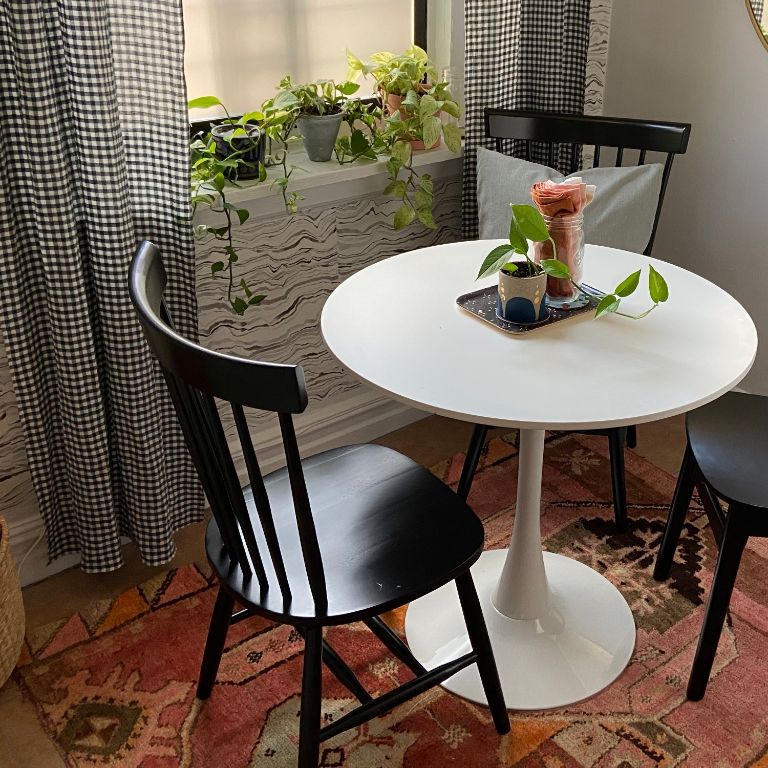White Dining Table and 2 Black Spindle Chairs - image-1