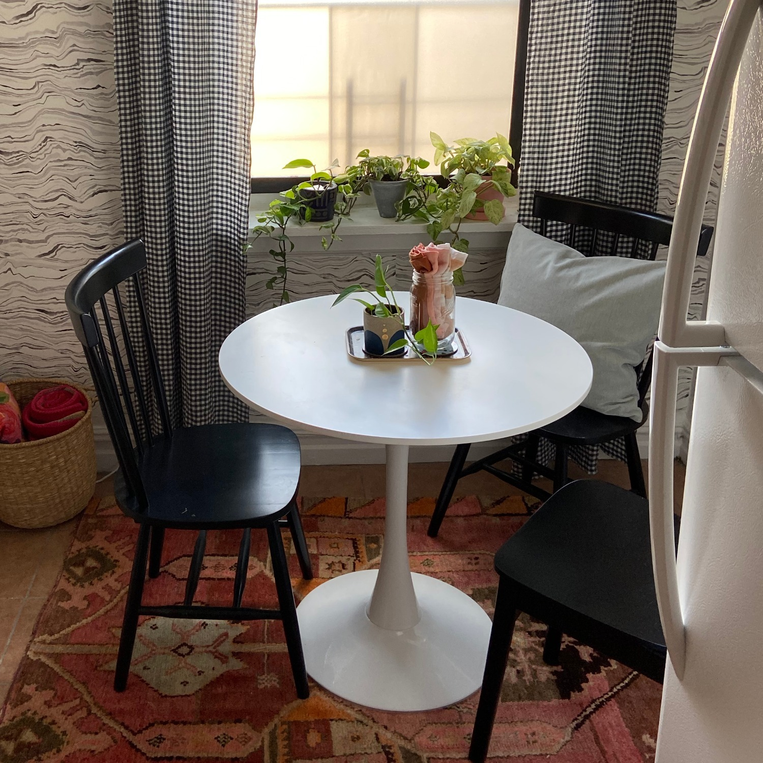 White Dining Table and 2 Black Spindle Chairs - image-3