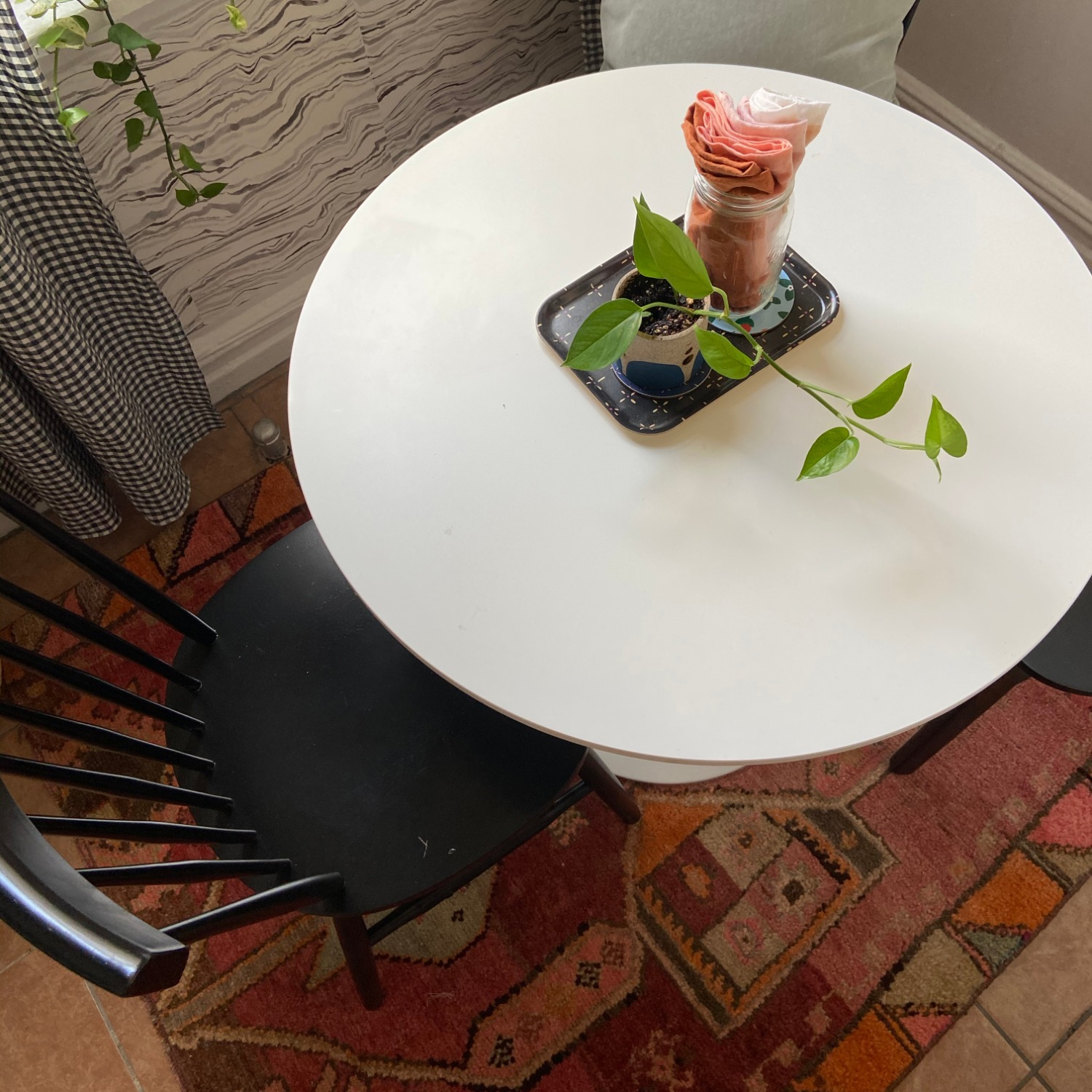 White Dining Table and 2 Black Spindle Chairs - image-2