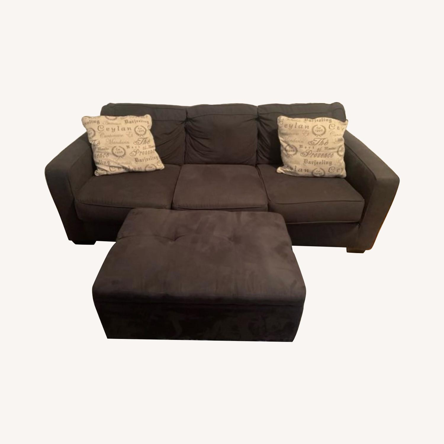 3 Seater Couch Black With Ottoman and 2 Pillows - image-0