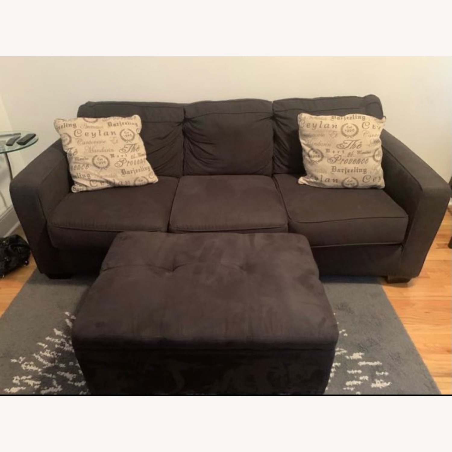 3 Seater Couch Black With Ottoman and 2 Pillows - image-4