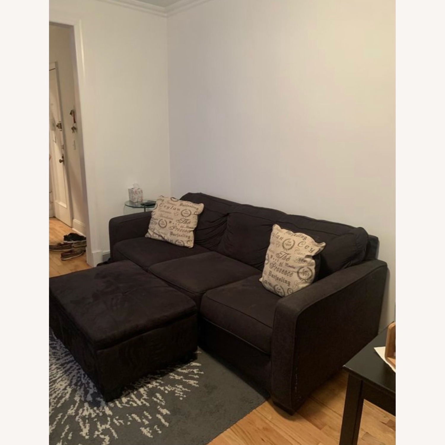 3 Seater Couch Black With Ottoman and 2 Pillows - image-2