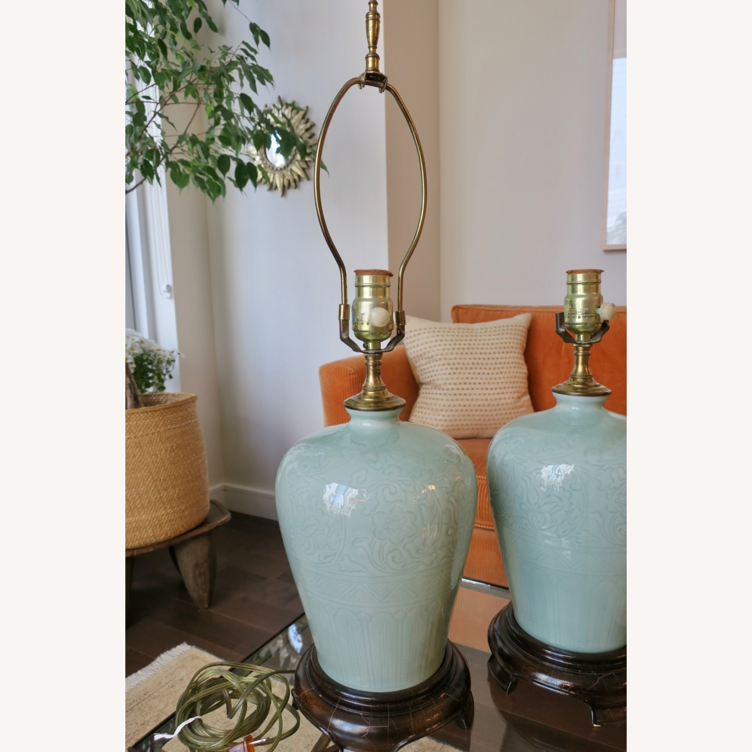 Celadon Ceramic Asian Table Lamps - image-7