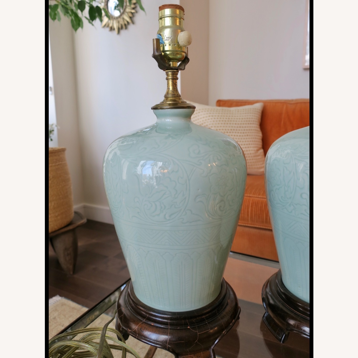 Celadon Ceramic Asian Table Lamps - image-2