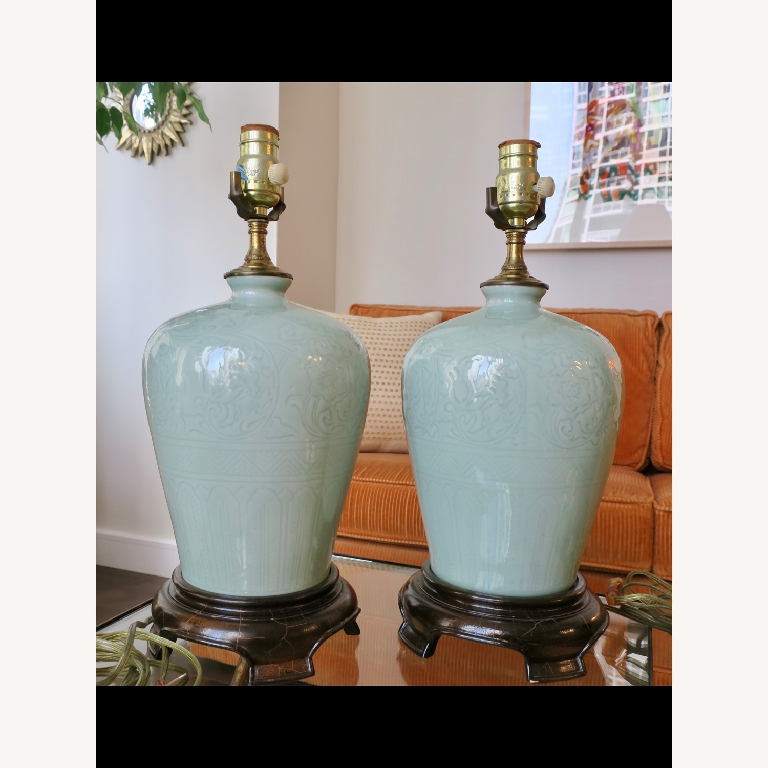 Celadon Ceramic Asian Table Lamps - image-1