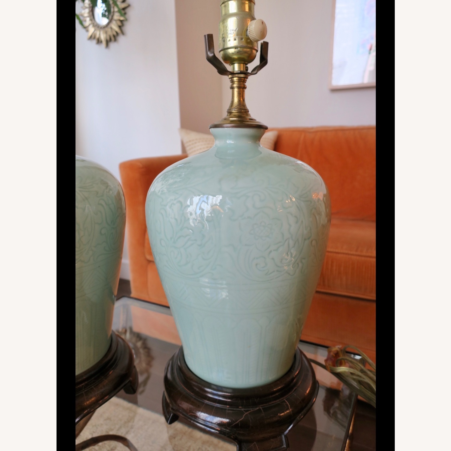 Celadon Ceramic Asian Table Lamps - image-3