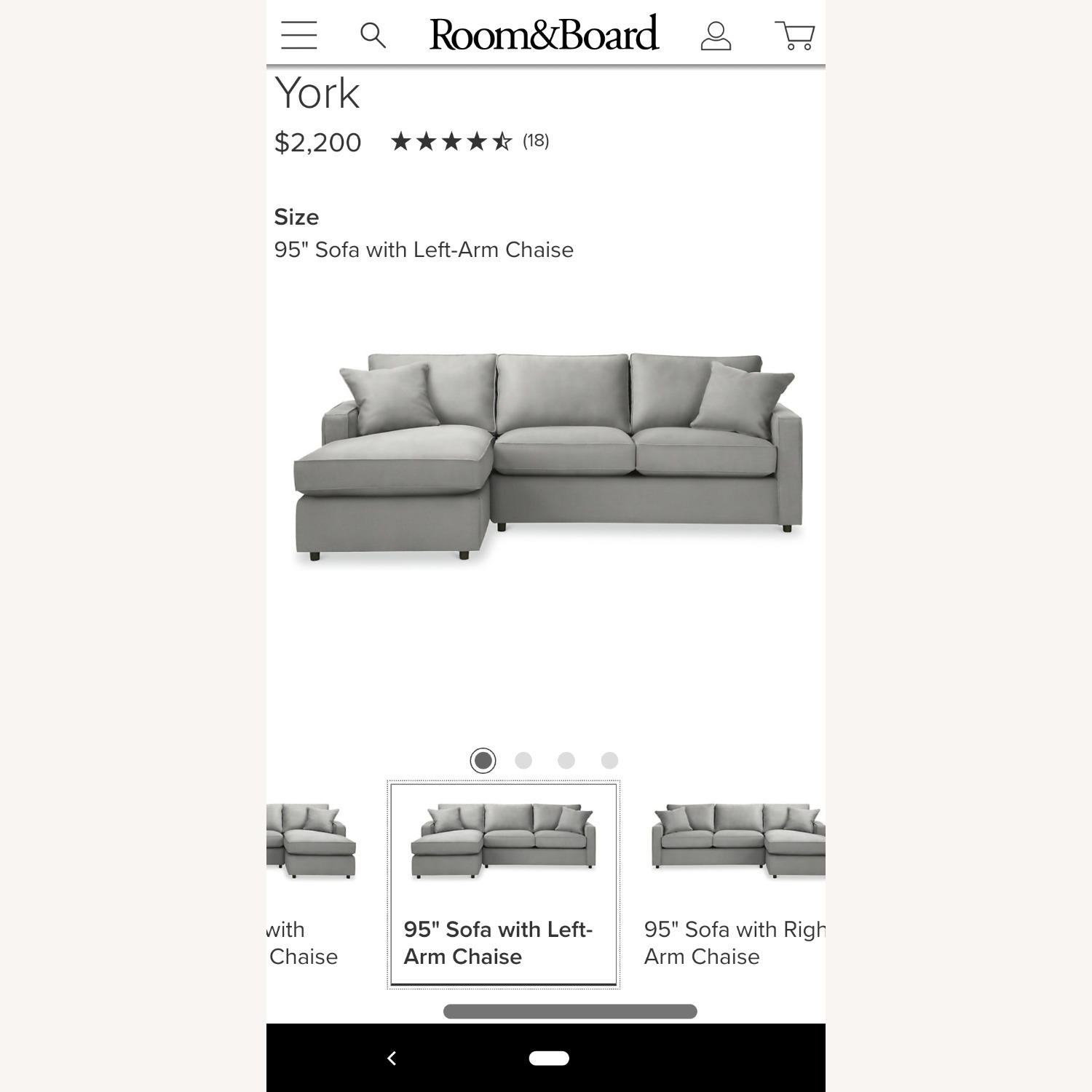 Room & Board Cement Gray Sectional - image-3