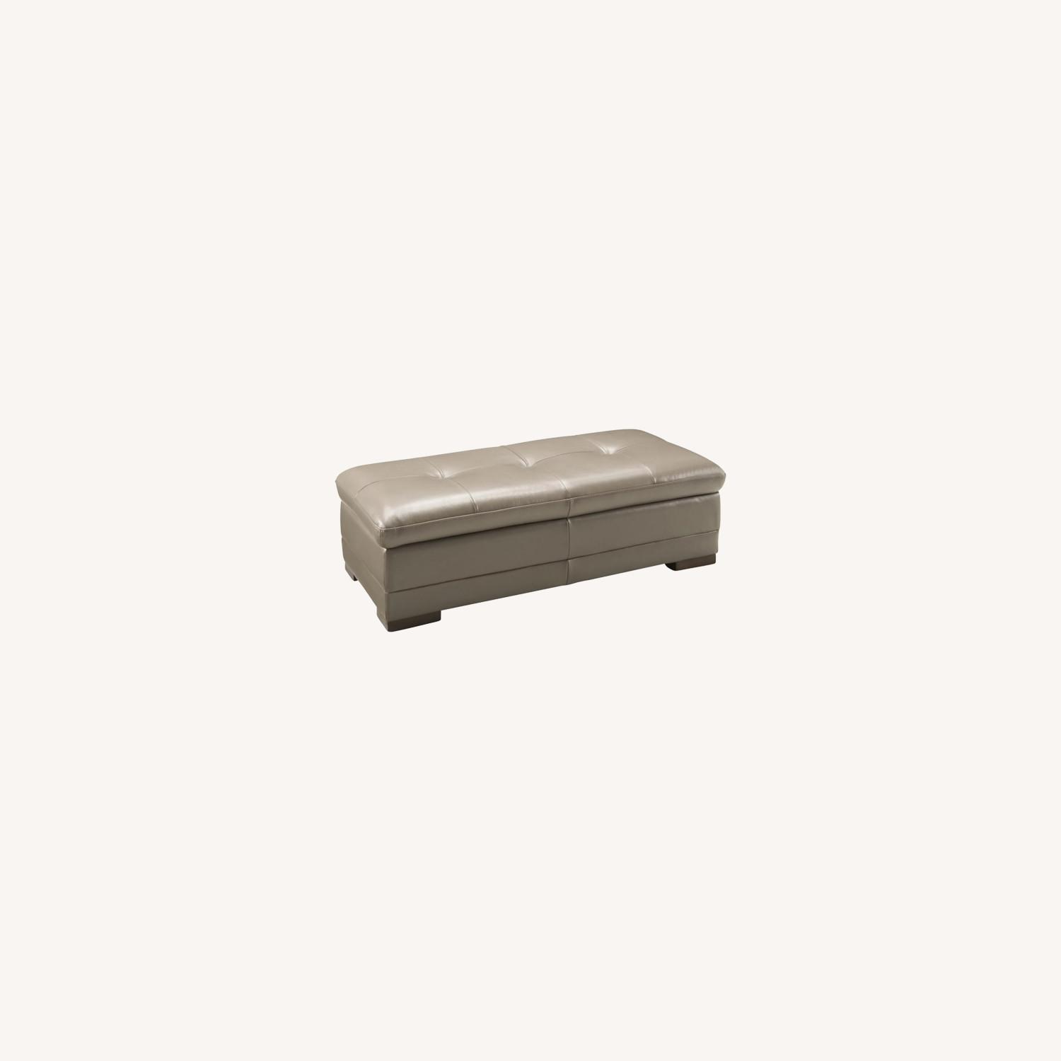 Raymour & Flanigan Taupe Leather Cocktail Ottoman - image-0