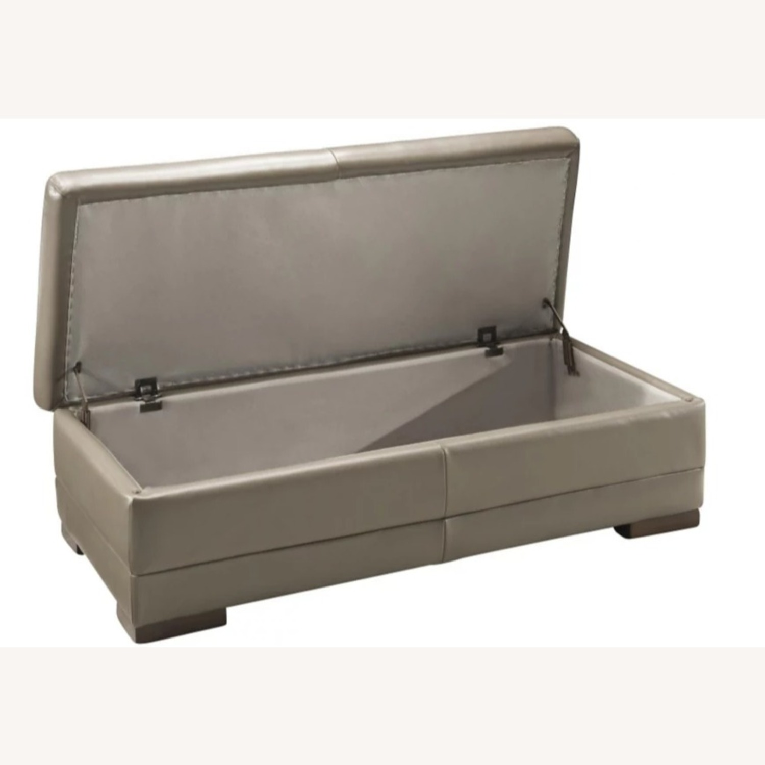 Raymour & Flanigan Taupe Leather Cocktail Ottoman - image-2