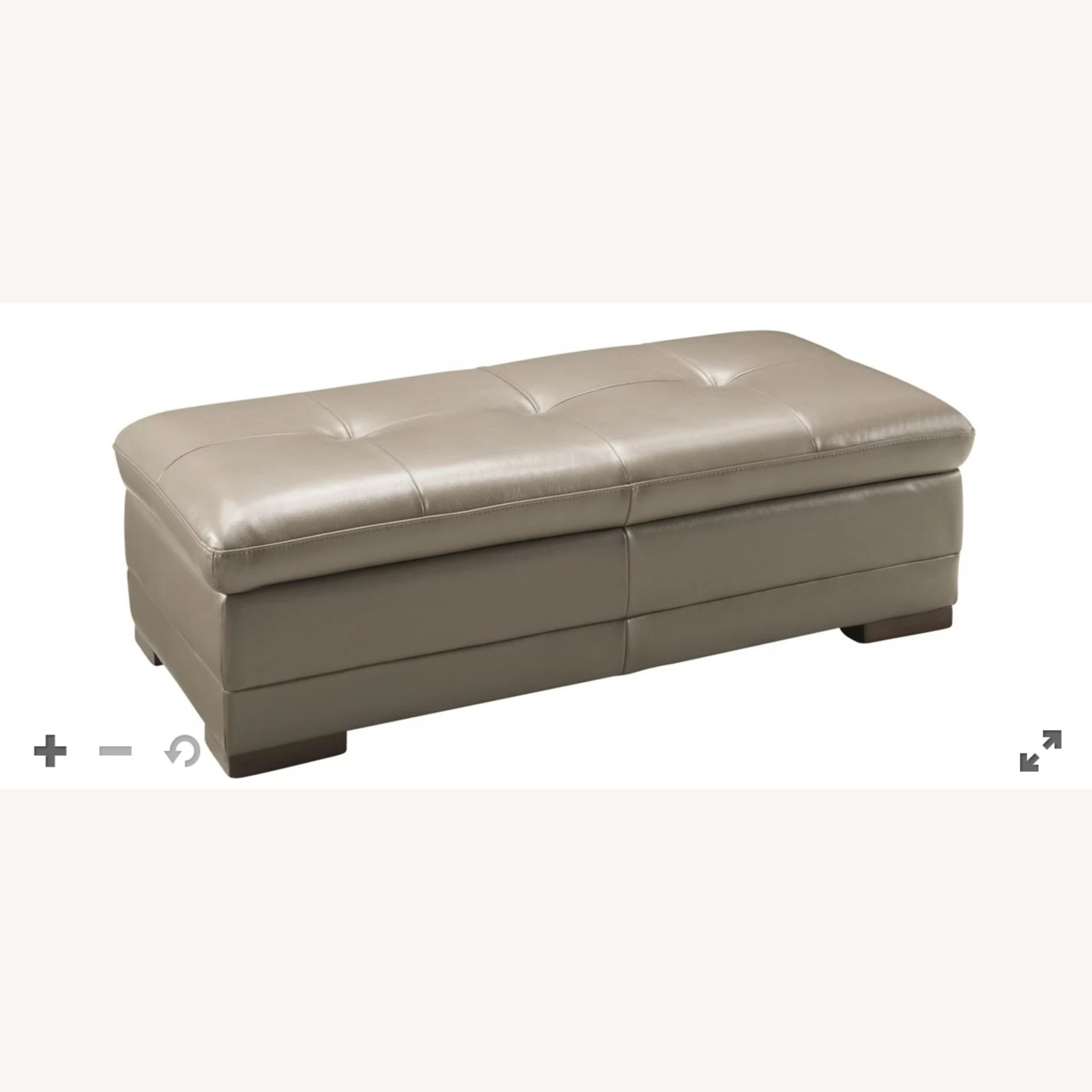 Raymour & Flanigan Taupe Leather Cocktail Ottoman - image-3