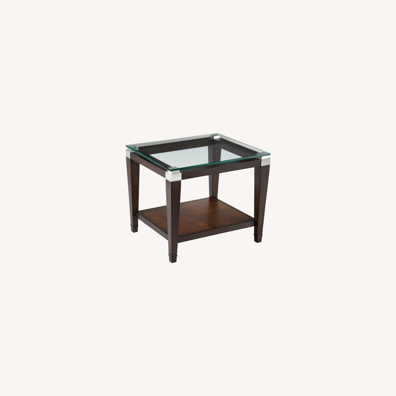 Raymour & Flanigan Glass End Table with Oak Hardwood - image-0