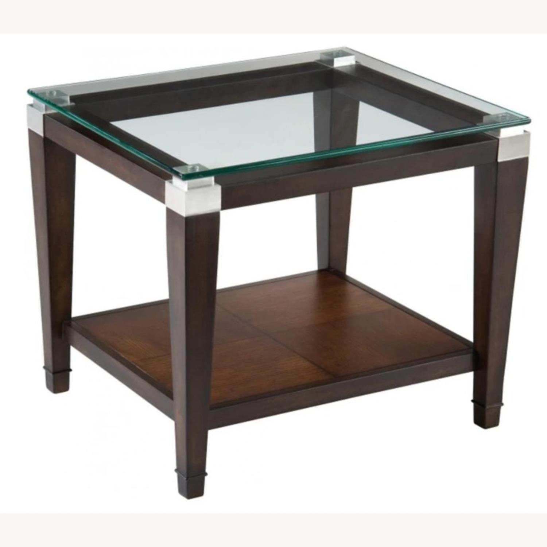 Raymour & Flanigan Glass End Table with Oak Hardwood - image-3
